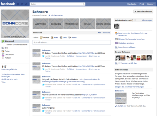 Neues Facebook Fanpage Layout