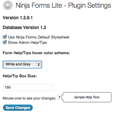 Ninja Forms Settings