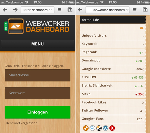 mobile Webworker-Dashboard